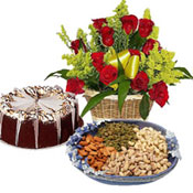 This Gift Hamper consists of a basket of 12 Red Roses, 1/2 Kg Mixed Dry Fruits and a 1Kg Chocolate (or) 1kg black forest square shape  Cake,