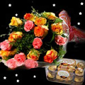 Bouquet of 12 mixed Roses with seasonal fillers nicely wrapped in matching paper packing with 200gm box of ferrero rocher chocolate at midnight. <br> In MIDNIGHT Deliveries please select the desired date of delivery as the date prior to the occasion date.  For eg: if occasion is on 17th Sep, please select 16th Sep as a desired date of delivery.