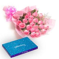 12 pink roses bunch + small Cadbury Celebrations box
