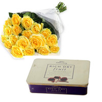 Cadbury Celebration Rich Dry Fruit chocolate Collection 162g + 12yellow roses bunch