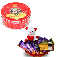 Danish Butter Cookies +Basket of 5 Cadbury Assorted 65 gms silk chocolates with 2 temptations, 6 Inch teddy bear