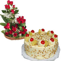 24 Red Roses along with a 1 kg butterscotch cake. As flowers express one's heart-felt feelings in an unique fashion