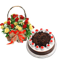 1kg Blackforest Cake  Round basket of 24 red and yellow roses to celebrate those joyful occasions.