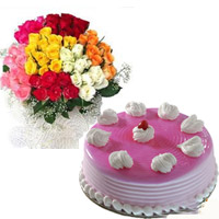 Round Strawberry Special Cake- 1kg 50 Mixed roses bunch in full bloom are beautifully arranged in this flower bunch.