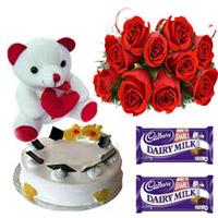 10 Red roses bunch 1/2kg pneapple cake small teddy 2 Cadbury Dairy Milk.Chocolates