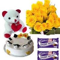 10 Yellow Rose Bunch 1kg pneapple pastry cake small teddy 2 dairy milk silk  chocolate