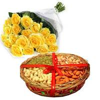 400 Gms Dry Fruits decorated on a basket + 12 yellow roses bunch