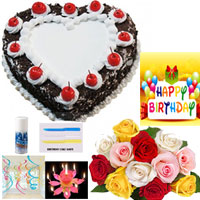 2 Kg heart shape Black Forest Cake, from the very best bakers + 12 mixed roses bunch +birthday accessories+ birthday card