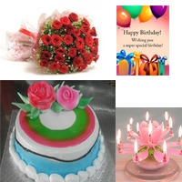 Bunch of 32 Red Roses 1kg Round butter scotch Cake + Birthday Greeting card Birthday candle
