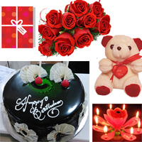 12 Red Roses Bunch, 1kg Round Chocolate Cake and Small n Cute Teddy Bear.+ Occasion geeting card + candle