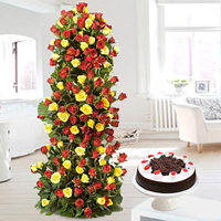 Life Size Basket -Just go for this grand arrangement (around 3 feet) of lovely 100 red & Yellow Roses in special way. + 2kg Round black forest cake