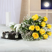 Bunch of 10 Yellow Roses With Matching Ribbon Bow Tied and one kg Round Shape Dark Chocolate Cake