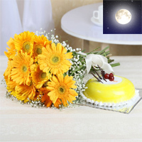 12 Yellow Gerberas Product packing: Cellophane Wrapping Bunch and 1kg round butter scotch cake.