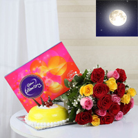 Bunch of 12 Red & Pink & Yellow Roses with matching ribbon bow tied, 1kg round shape butter scotch cake, Cadbury celebration chocolate box (Weight: 118 gm)