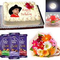 1kg Butter scotch photo CAKE +bunch of 10 Multicolour Gerberas.+Dairy milk silk fruit & nut big size 3 pcs each 145gr