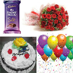 1/2 kg Round black forest cake +31 Red roses  + Diary Milk Silk Big Size 145gr Qty1 +15pcs blow balloons