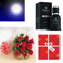 12 Luxurious arrangement of gorgeous red roses will add style and class to your loved ones day  + Birthday Greting card + Fogg Black perfume 50ml