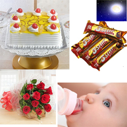 This is a yummy square shaped butterscotch flavored cake that weighs two kg. butterscotch chips + 10Redroses bunch + Cadbury 5 Star 5pcs + baby Milk Bottle