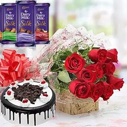 One kg Round black forest cake  +bunch of 10 Red roses +Cadbury Dairy Milk Silk (3 Flavors) Dairy Milk Silk - Chocolate - big Dairy Milk Silk - Roast Almond - big Dairy Milk Silk - Fruit & Nut - big