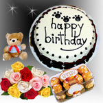1kg black forest cake. 24 mixed roses bouquet. 16pcs ferrero rocher chocolate box.<br> 1 small teddy bear. <br>