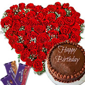 Send this grand gift as a midnight surprise. Hamper contains :50 Roses Heart Shape Basket, 2kg Chocolate Cake with 5 medium Diary milk Silk  or Diary milk Fruit and Nut Chocolates.