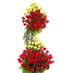 Life Size Basket -Just go for this grand arrangement (around 4 feet) of lovely 60 Red and 40 Yellow Roses, Flowers to Bangalore
