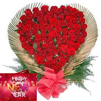 Send this wonderfull arrangement of 100 Red Roses in a Heart Shaped arrangement