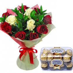 Beautiful hues and gorgeous blossoms will deliver your love. Bunch of 12 Red & White Roses along with 16 Pcs Ferrero Rocher Box