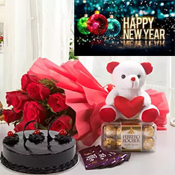 This is an ultimate combo that you can order to delight your loved ones Bunch of 12 Red Roses 5 Cadbury Chocolates (12.5 gm each) 6 Inch Soft toy  Ferrero Rocher 200 gms 500gm Chocolate Cake