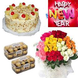 Beautiful 50 mix roses bouquet +  32 Pcs. Fererro Rosher Chocolates + 1kg butter scotch cake