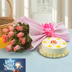 The mesmerizing fragrance of 10 pink roses and the heavenly taste of the 1kg black forest cake would make a wonderful Birthday, Anniversary, New Year, or Valentine's Day gift.