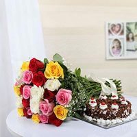 1kg Round black forest cake + 12 Mixed roses bunch