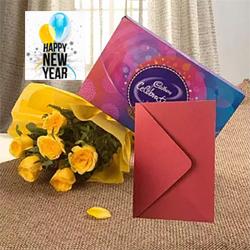 10 yellow roses bunch + small Cadbury Celebrations box