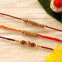 Traditional Set of 3 Beads Rakhis