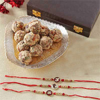 3 Rakhis With Plate of 1/2kg Dry Fruit Ladoos & Pearl Roli Chawal Thali