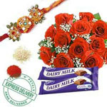 Bunch of 12 red roses,2 dairy milk chocolates