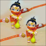 A set of two hanuman rakhis (from the blockbluster movie hanuman).A sure gift rakhi for kids Surprise them with these rakhi's.