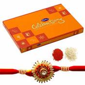 Cadbury Celebration box of 119gm with Designer Rakhi and Roli Chawal