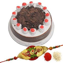 1Kg Round  Black Forest Cake + Rakhi