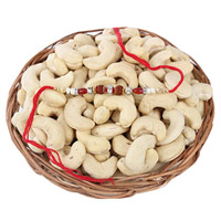 This combo encompasses a Brown Basket(or) plate filled with premium Cashews in 200 grams, along with  Rakhi and Roli Chawal