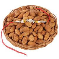 Gift your brother this premium 'Almonds Basket(or) plate  For Rakhi' Combo, on this Raksha Bandhan,Almonds in 200 grams and Rakhi with  Roli Chawa