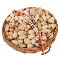 Gift your brother this premium 'Pistachios Basket(or) plate  For Rakhi' Combo, on this Raksha Bandhan,Pistachios in 200 grams and Rakhi with  Roli Chawa