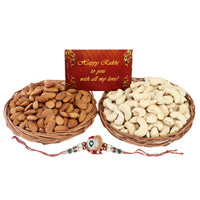 This is a combo of Two Basket(or) plate , filled with Cashews & Almonds of 200 grams each, Small Rakhi