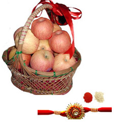 A basket of seasonal fresh Apple for your loved ones.10 pieces Rakhi with roli chawal.