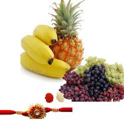 Banana,pineapples + 2kgs of grapes basket Rakhi with roli chawal.