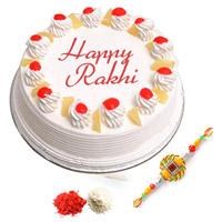1 kg pineapple cake with rakhi