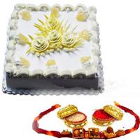 1/2kg normal cake  Send this delectable designer rakhi with roli chawal
