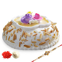 1kg Almond Cake Send this delectable designer rakhi with roli chawal