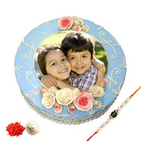 1kg Special Photo Cake Send this delectable designer rakhi with roli chawal
