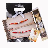 A pack of 5 Pieces Ferrero Rocher crisp hazelnut and milk chocolate  With 2 rakhi set
